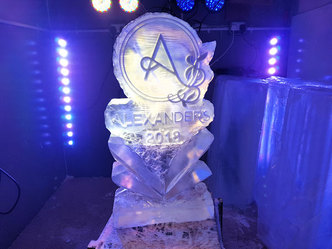 Alexanders Logo Ice Sculpture