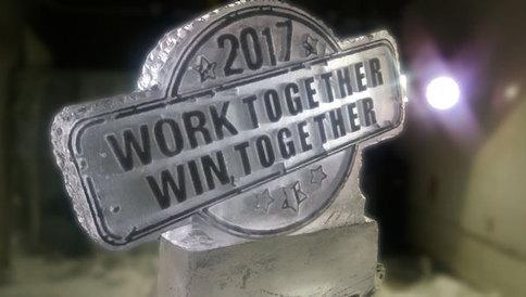 Work Together Logo Ice Sculpture