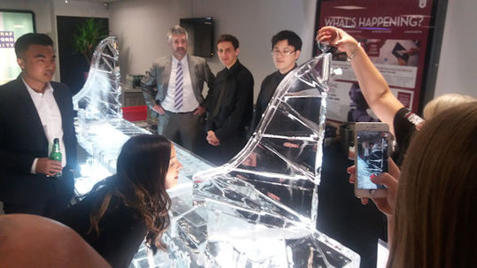 Vodka Ice Luge on top of an Ice Bar
