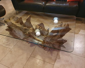 Top View of large tree root coffee table