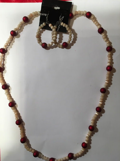 red & tiger eye necklace earring
