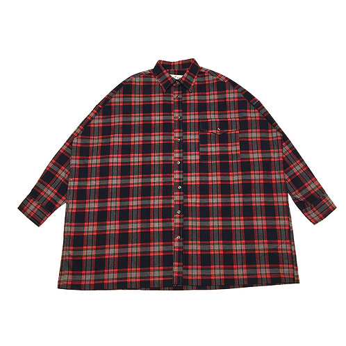 flannel wide check shirt