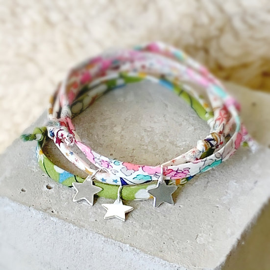 Sterling Silver and Liberty Print Friendship Bracelet