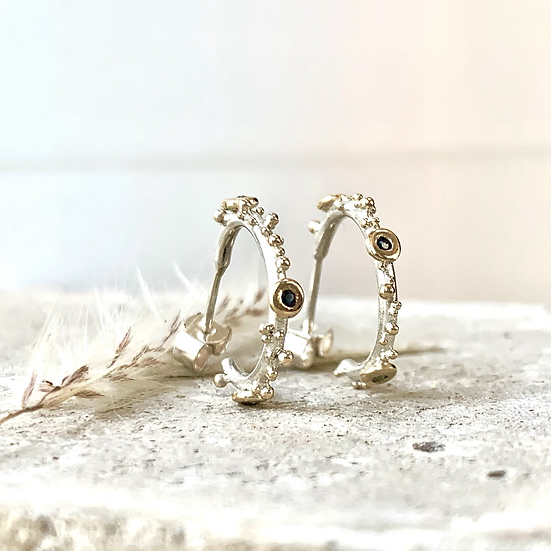 Silver and Gold Granulated Sapphire Hoop Earrings