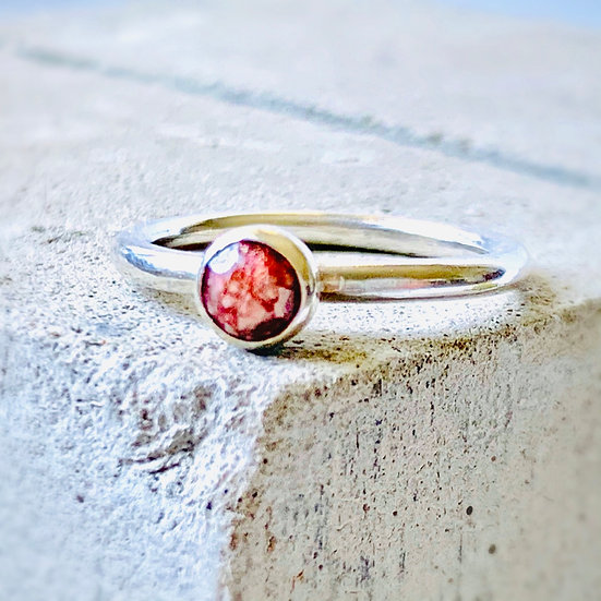 Sterling Silver Ring with 5mm Resin Stone