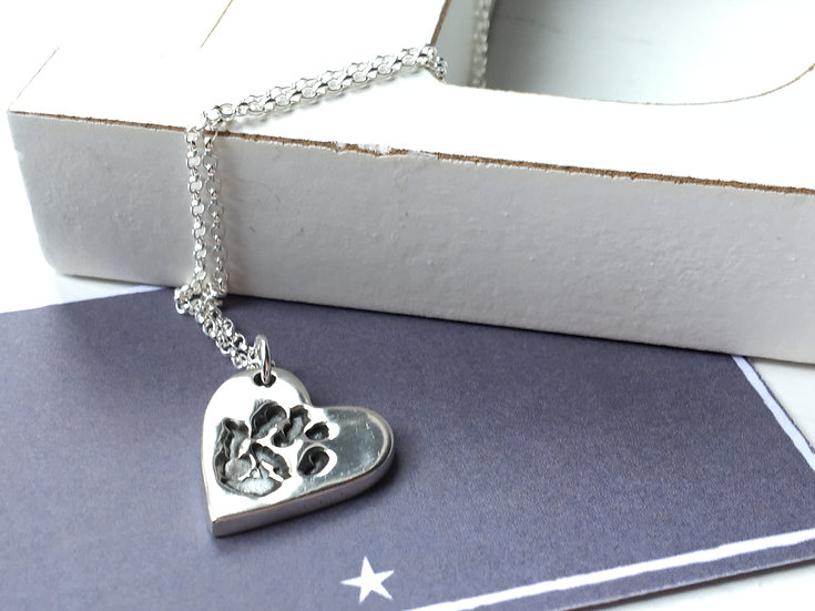 Silver Handprint Charm Necklace