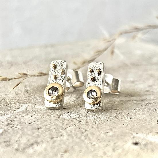 Grey Diamond Rectangular Earrings