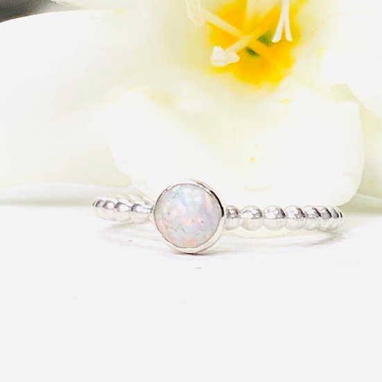 Breastmilk Bubble Ring with 5mm stone