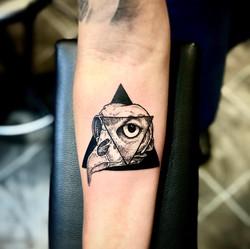 skull owl tattoo