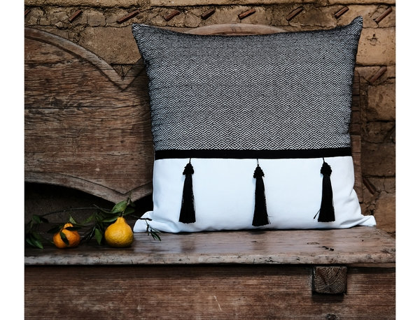 Grey and White Woven Mexican Pillow - Mysteries of the Night Series