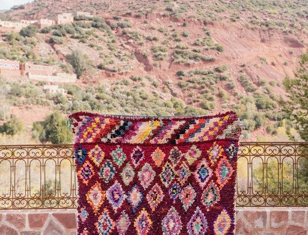 Handmade Deep Red Boucherouite Rug