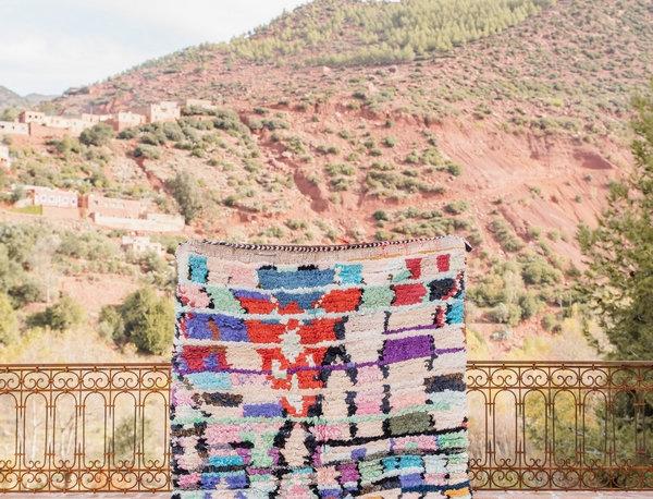 Handmade Vintage Abstract Boucherouite Rug