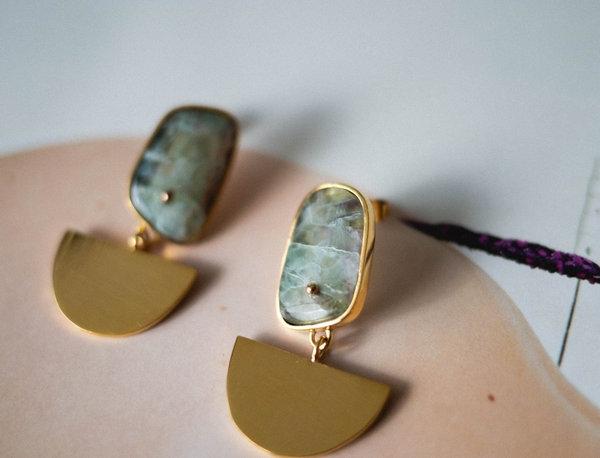 Nua Bronze Semi-circular Pendant Earrings