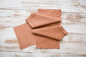 Placemats and napkins, coconut tinted an