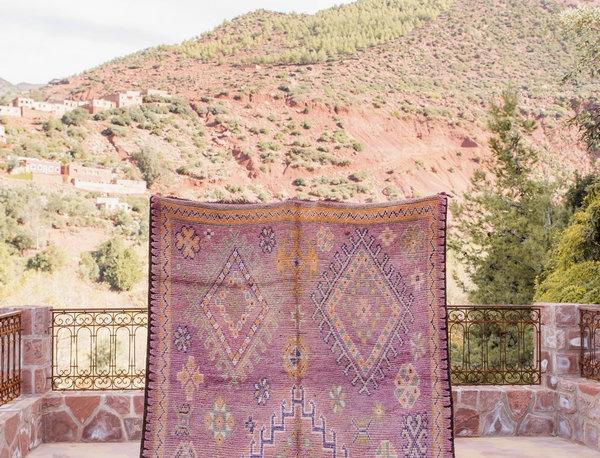 Handmade Vintage Berber Motif Haouz Rug