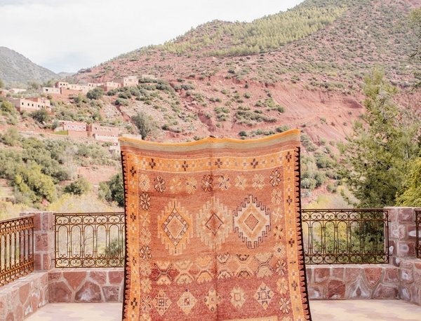 Handmade Vintage Haouz Rug with Berber Motifs