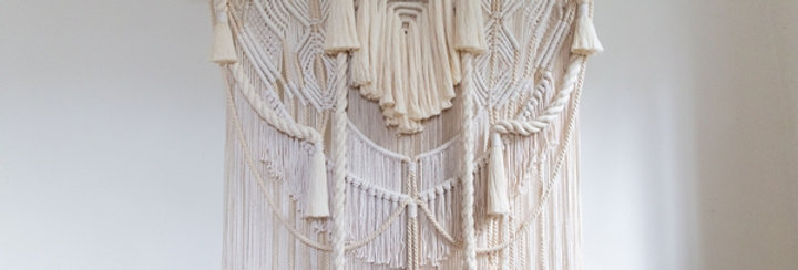 White Macramé Wall Hanging on Wooden Beam (51.18 x 47.2 in.), Chaos Collection