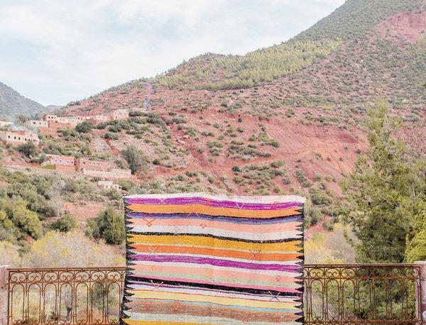 Handmade Colorful Striped Boucherouite Rug