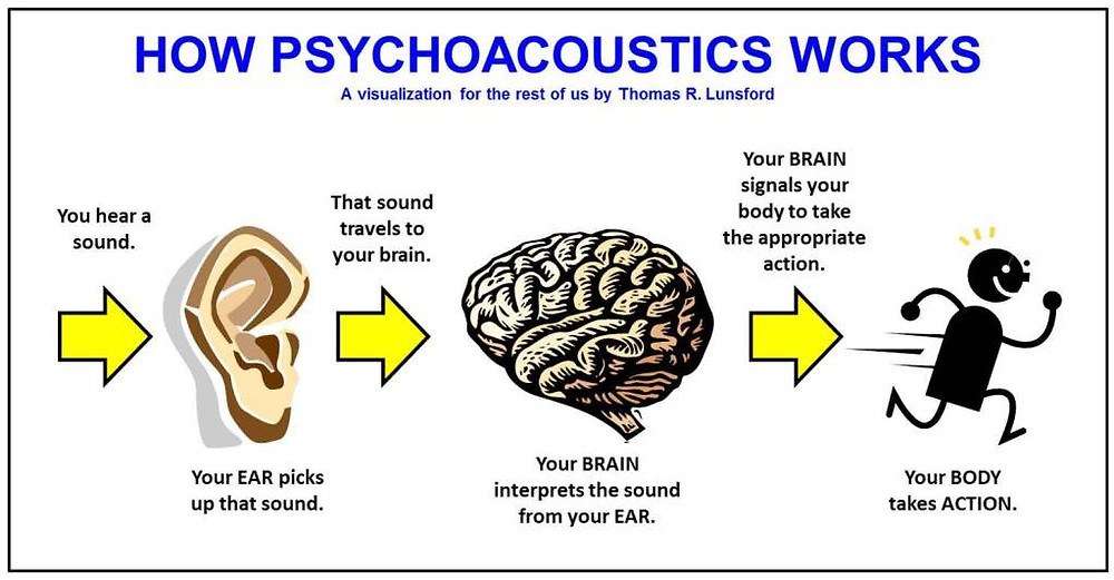 Description of how psychoacoustics works. You hear the sound, you ear picks up that sound, the sound travels to your brain, your brain interprets the sound from your ear, your brain signals your body to take the appropriate action, your body takes action.