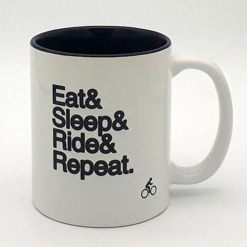 Worry Less Design - Eat, Sleep, Ride, Repeat Mug