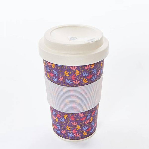 Eco Chic Reusable Bamboo Cup - Ditsy Doodle Purple