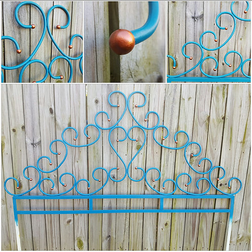 vintage furniture and decor, wrought iron, headboard, turquoise, copper