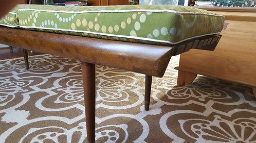 vintage furniture and decor, mid century, slatted, walnut, cushion