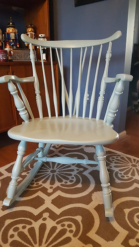 vintage furniture and decor, rocking chair, robin's egg blue, rocker, refinished