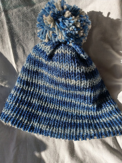Thick and warm striped bobble hat