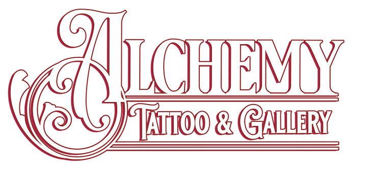 alchemy tattoo & gallery, logo, chicago tattoo, anime tattoo, women owned business, female tattoo artist