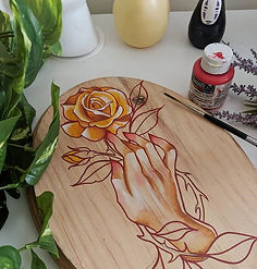 I love painting on these wooden panels.