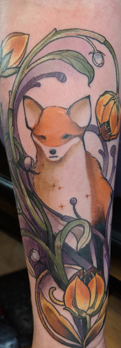 nature inspired ornamental fox tattoo Detailed photo of fox calf tatto by Amy Porter