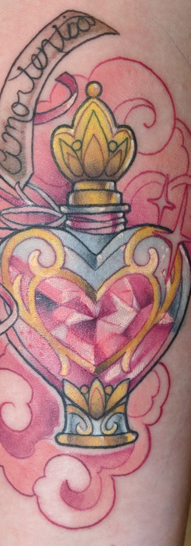 Harry Potter Amortenia potion bottle tattoo by Amy Porter