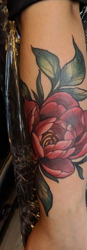 Illustrative Peony tattoo Detailed photo of fox calf tatto by Amy Porter