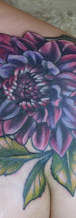 Dalia floral tattoo by Amy Porter