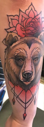 Floral Mandala Bear by tatto by Amy Porter