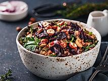 Warm buckwheat and beetroot salad on dar