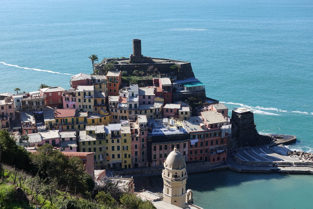 View overlooking the village of Vernazza in the Cinque Terre