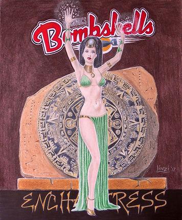 Enchantress DC Bombshells coloured pencil sketch
