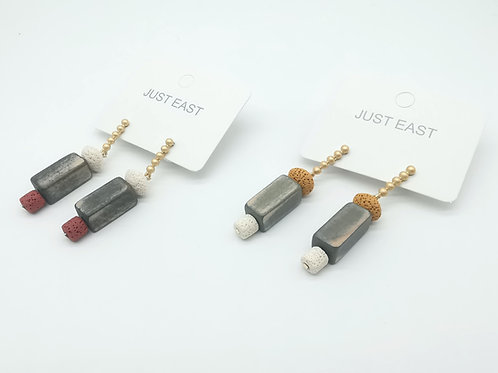 E00830 EARRINGS( YELLOW,RED)