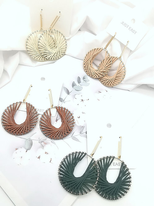E00806 FAUX LEATHER EARRINGS