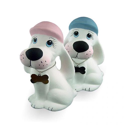 Cão de cerâmica com boné