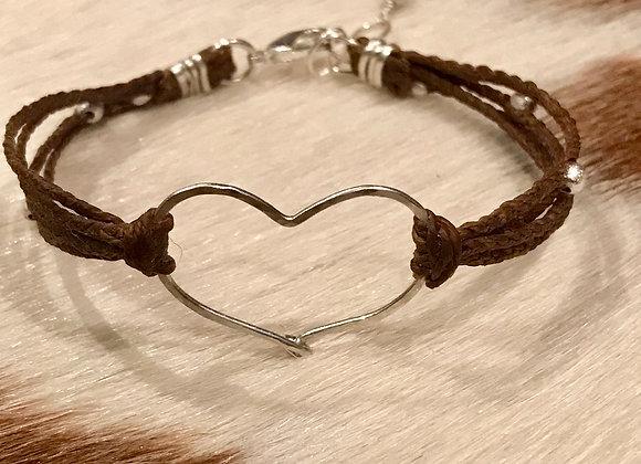 Silver Heart Bracelet on Irish Linen
