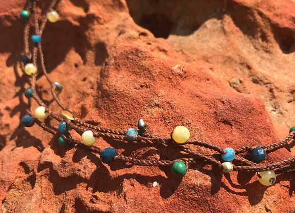 Linen with Yellow Opal and Turqoise