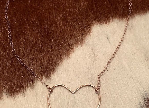 Rose Gold Hammered Heart Necklace