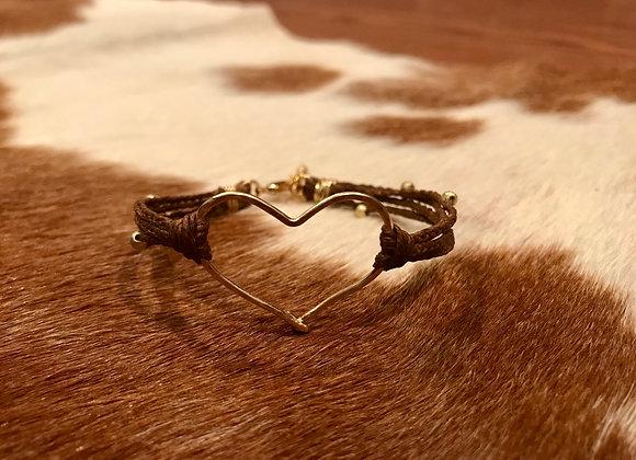 Gold Heart Bracelet on Linen