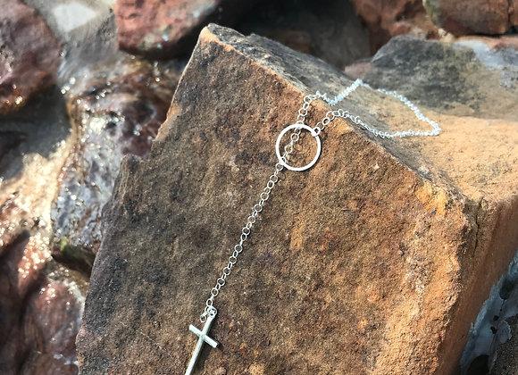 Sterling Pull-thru Chain & Cross