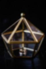 Pour la cérémonie laïque les alliances dans une boite en verre dorée