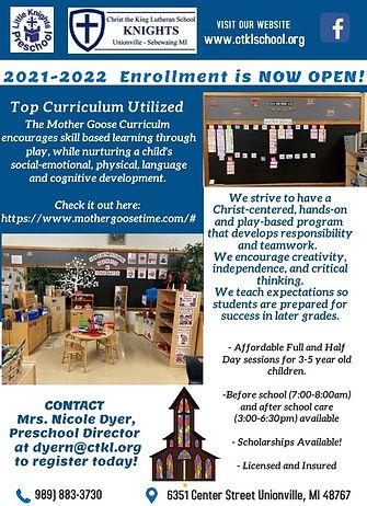 Little Knights 2021-2022 enrollment flye