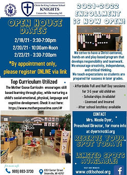 FINAL Little Knights Open House Flier 20